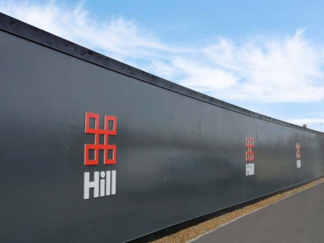 Hill Brand Identity. Property Hoarding. Brand design by Gosling produced for Hill.